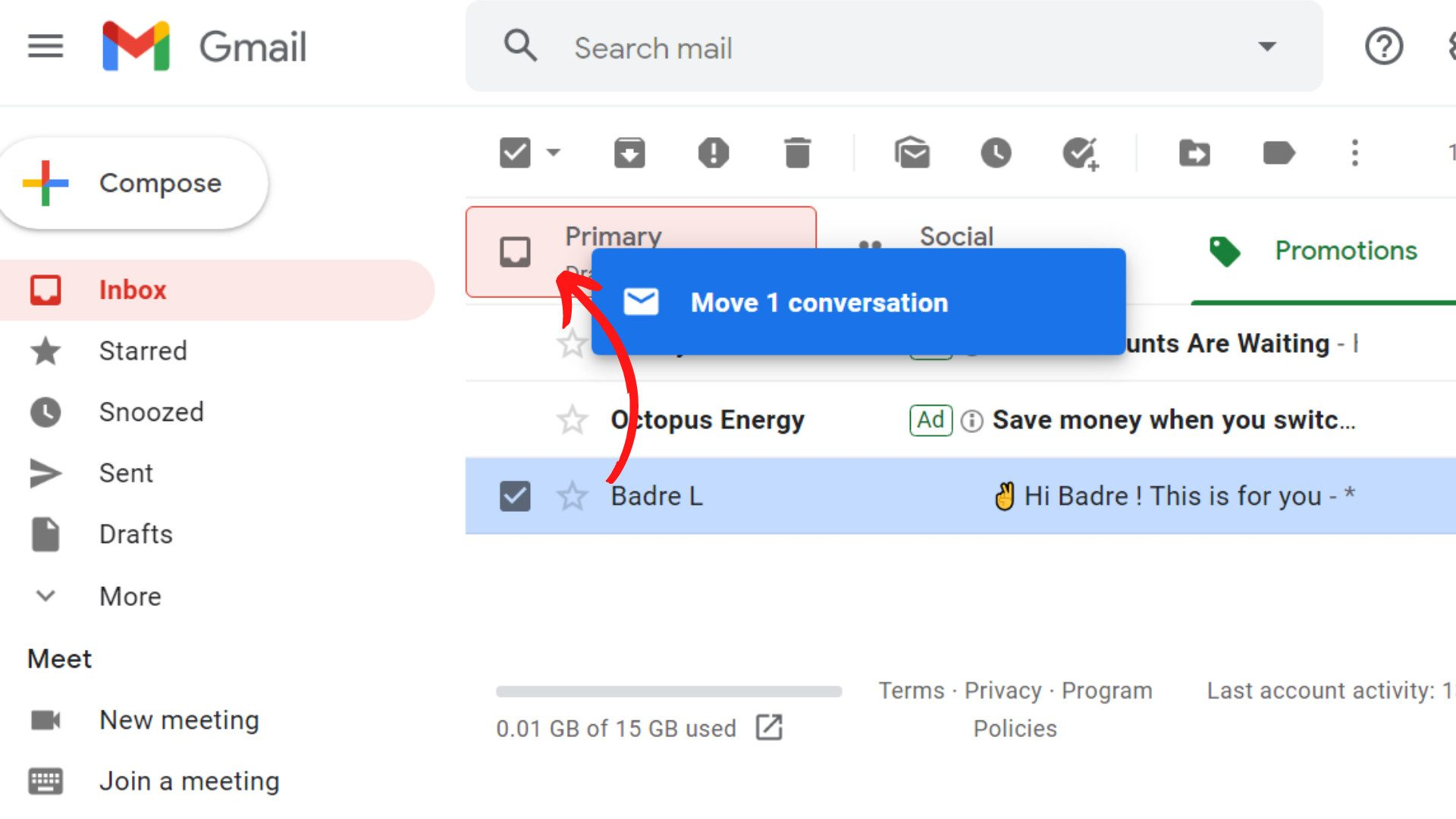 step 4 Now drop this Email in the Primary tab